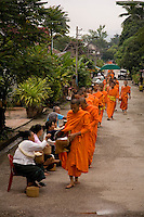 Orange robed Buddhist monks of Luang Prabang,Laos receiving morning alms.