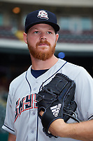 Colorado Springs Sky Sox pitcher Brandon Woodruff (23) poses for a photo before a game against the Oklahoma City Dodgers on June 2, 2017 at Chickasaw Bricktown Ballpark in Oklahoma City, Oklahoma.  Colorado Springs defeated Oklahoma City 1-0 in ten innings.  (Mike Janes/Four Seam Images)