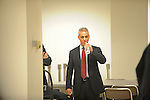 Rahm Emanuel takes a sip of water before entering a basement Chicago Board of Elections conference room to testify at his residency hearing concerning his eligibility to run for mayor of Chicago in Chicago, Illinois on December 14, 2010.