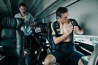 pre-race vibes on the Mitchelton-Scott teambus: Mathew Hayman (AUS/Mitchelton-Scott) getting ready<br /> <br /> Stage 6: Brest > Mûr de Bretagne / Guerlédan (181km)<br /> <br /> 105th Tour de France 2018<br /> ©kramon