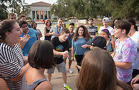 Oxy Engage starts off with ice breakers and games, Aug. 22, 2016. Each year incoming first-year students can choose to arrive early at Occidental College before Orientation Week and participate in trips exploring the Los Angeles area and beyond.<br /> (Photo by Marc Campos, Occidental College Photographer)