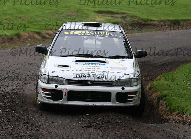Mike Grant / Graham Kelman near Junction 10 on the Gleaner Oil & Gas Cooper Park Special Stage 2 of the Gleaner Oil & Gas Speyside Stages Rally 2012, Round 6 of the RAC MSA Scotish Rally Championship which was organised by The 63 Car Club (Elgin) Ltd and based in Elgin on 4.8.12..........