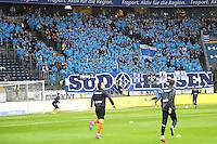 Fans der Lilien und ihre Spieler - 05.02.2017: Eintracht Frankfurt vs. SV Darmstadt 98, Commerzbank Arena