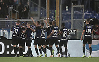Calcio, Serie A: SS Lazio vs Internazionale Milano, Olympic stadium, Rome, October 29, 2018.<br /> Inter's Marcelo Brozovic (second from left) celebrates after scoring with his teammates during the Italian Serie A football match between SS Lazio and Inter Milan at Rome's Olympic stadium, on October 29, 2018.<br /> UPDATE IMAGES PRESS/Isabella Bonotto