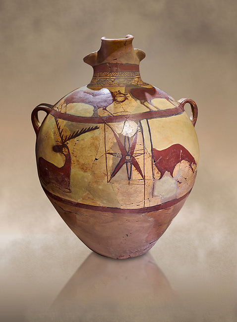 Phrygian terra cotta large jug with handles, decorated with animals, from Gordion. Phrygian Collection, 6th century BC - Museum of Anatolian Civilisations Ankara Turkey. Against an art background
