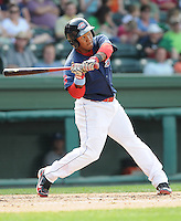 Infielder Heiker Meneses (21) of the Greenville Drive, Class A affiliate of the Boston Red Sox, in a game against the Asheville Tourists on May 1, 2011, at Fluor Field at the West End in Greenville, S.C. Photo by Tom Priddy / Four Seam Images