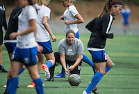 Seattle, WA - Saturday Aug. 27, 2016: Laura Harvey prior to a regular season National Women's Soccer League (NWSL) match between the Seattle Reign FC and the Portland Thorns FC at Memorial Stadium.