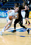 January 24, 2017:  Air Force center, Frank Toohey #33, drives hard for the basket during the NCAA basketball game between the San Diego State Aztecs and the Air Force Academy Falcons, Clune Arena, U.S. Air Force Academy, Colorado Springs, Colorado.  Air Force defeats San Diego State 60-57.