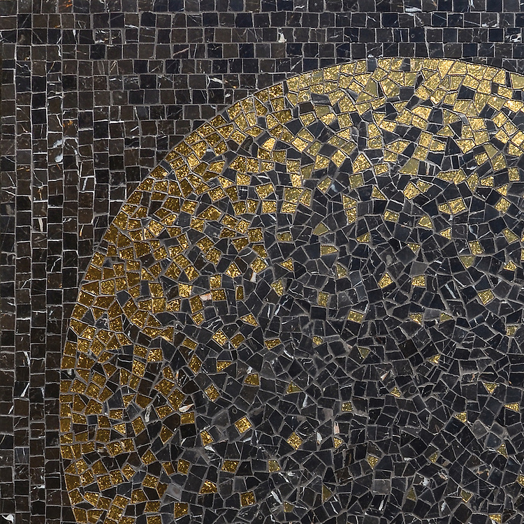 Soleil, a hand-cut stone mosaic shown in 24K Gold Glass and honed Saint Laurent, is part of the Aurora™ Collection by Sara Baldwin for New Ravenna.