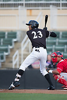 Joel Booker (23) of the Kannapolis Intimidators at bat against the Lakewood BlueClaws at Kannapolis Intimidators Stadium on April 6, 2017 in Kannapolis, North Carolina.  The BlueClaws defeated the Intimidators 7-5.  (Brian Westerholt/Four Seam Images)
