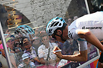 Chris Froome (GBR) Team Sky at sign on before the start of Stage 14 of the 2018 Giro d'Italia, running 186km from San Vito al Tagliamento to Monte Zoncolan features Europe's hardest climb, Italy. 19th May 2018.<br /> Picture: LaPresse/Gian Mattia D'Alberto | Cyclefile<br /> <br /> <br /> All photos usage must carry mandatory copyright credit (&copy; Cyclefile | LaPresse/Gian Mattia D'Alberto)