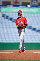 Philadelphia Phillies pitcher Gabriel Cotto (54) gets ready to deliver a pitch during a Florida Instructional League game against the New York Yankees on October 12, 2018 at Spectrum Field in Clearwater, Florida.  (Mike Janes/Four Seam Images)
