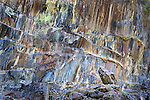 abstract design of colors and rockwall along Merced River, California