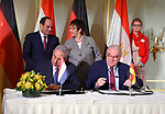 Egyptian President Abdel Fattah al-Sisi attends opening session of the Egyptian-German joint economic committee, in Cairo, Egypt, on June 12, 2017. Photo by Egyptian President Office