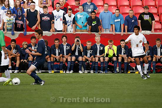 Sandy - Mountain View vs. Woods Cross High School boys soccer, 4A state championship game  Thursday May 21, 2009 at Rio Tinto Stadium..Woods Cross players on bench with cameras