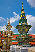One of six pairs of guardian demon flanking entrance to the Gallery or Phra Rabiang, Wat Phra Kaeo, Bangkok, Thailand