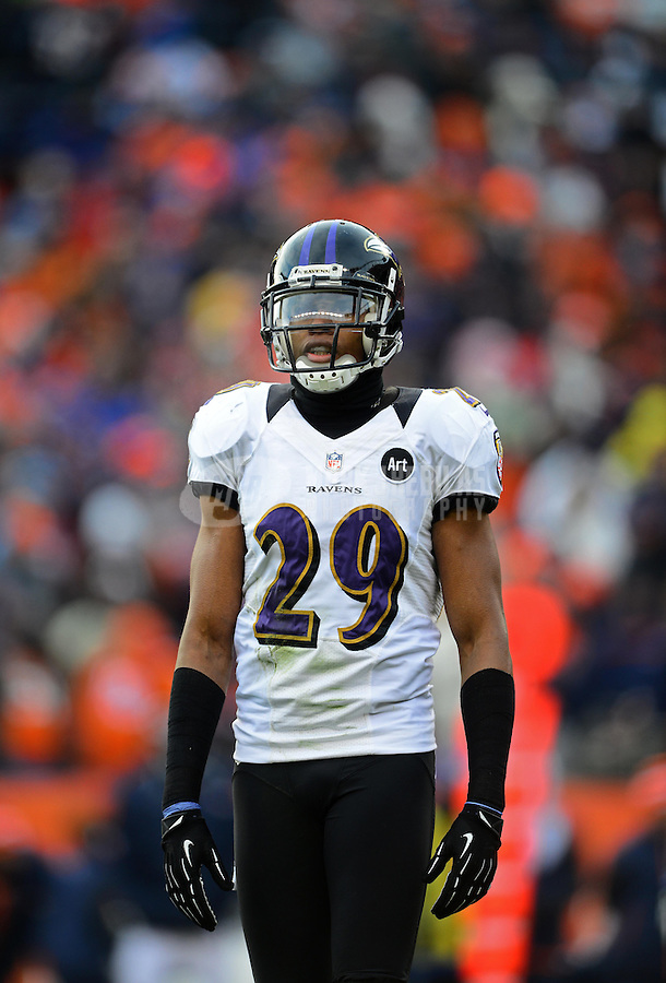 Jan 12, 2013; Denver, CO, USA; Baltimore Ravens cornerback Cary Williams (29) against the Denver Broncos during the AFC divisional round playoff game at Sports Authority Field.  Mandatory Credit: Mark J. Rebilas-