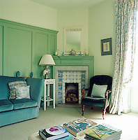 The sunny Green Room, where Henry James wote in the winter, features wood panelled walls