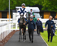 Winner of The British Stallion Studs EBF Margadale Fillies' Handicap Bella Vita ridden by Charles Bishop and trained by Eve Johnson Houghton is led into the Winners enclosure during Evening Racing at Salisbury Racecourse on 11th June 2019