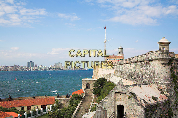 El Morro Fortress, Morro Castle, and buildings on city skyline, Havana, La Habana Vieja, Cuba