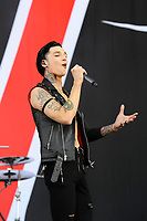 DERBY, ENGLAND - JUNE 10: Andy Biersack of 'Black Veil Brides ' performing at Download Festival, Donington Park on June 10, 2018 in Derby.<br /> CAP/MAR<br /> &copy;MAR/Capital Pictures
