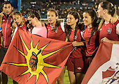 The Canadian indigenous women's team celebrate after winning the final against the local Xerente tribe at the International Indigenous Games in the city of Palmas, Tocantins State, Brazil. The USA won on a penalty shoot-out after a 0-0 match. Photo © Sue Cunningham, pictures@scphotographic.com 30th October 2015