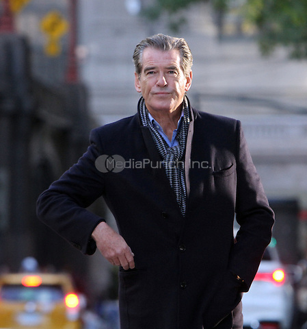 NEW YORK, NY- OCTOBER 26: Pierce Brosnan on location for the film, The Only Living Boy in New York City on October 26, 2016. Credit: RW/MediaPunch