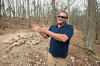 NWA Democrat-Gazette/BEN GOFF @NWABENGOFF<br /> Justin Huss, director of the Eureka Springs Parks and Recreation Commission, talks about new downhill mountain bike trails Wednesday, April 11, 2018, at Lake Leatherwood Park in Eureka Springs. The park is adding six new downhill trails.