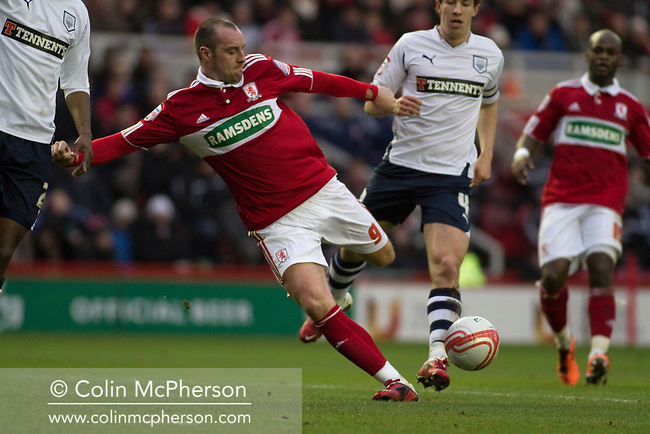 Middlesbrough FC's Scottish international forward Kris Boyd in action against Preston North End in an Npower Championship fixture at the Riverside Stadium. The match ended in a one-all draw watched by a crowd of 16,157. Middlesbrough relocated from their former home at Ayresome Park in 1995.