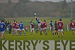 Bryan Sheehan in the air for St Mary's wins the hop ball in the dying minutes of the South Kerry final in Waterville setting up a free kick to put his side on a winning streak.