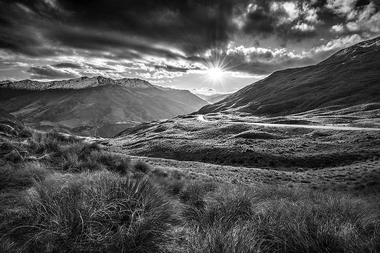 Late Afternoon, Crown Range Road, Queenstown, New Zealand - stock photo, canvas, fine art print