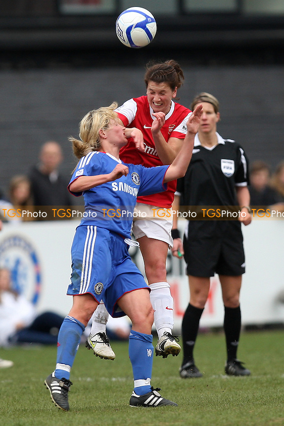 Niamh Fahey of Arsenal rises above Leanne Champ of Chelsea - Chelsea Ladies vs Arsenal Ladies - FA Women's Super League Football at Tooting & Mitcham United FC - 13/04/11 - MANDATORY CREDIT: Gavin Ellis/TGSPHOTO - Self billing applies where appropriate - Tel: 0845 094 6026