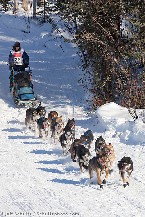 Musher Jessica Hendricks on Long Lake at the Re-Start of the 2011 Iditarod Sled Dog Race in Willow, Alaska.