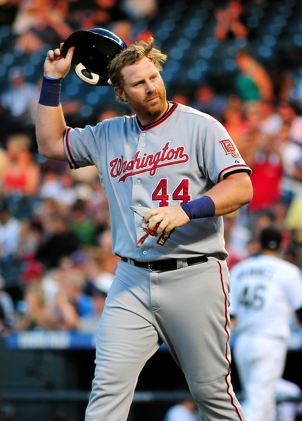 July 5, 2009: Nationals outfielder Adam Dunn reacts to striking out one of 3 times during a regular season game between the Washington Nationals and the Colorado Rockies at Coors Field in Denver, Colorado. The Rockies evened the series by beating the Nationals 5-4.