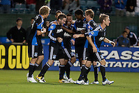 Bobby Convey (center) celebrates with teammates after his winning goal. The San Jose Earthquakes defeated the New England Revolution 2-1 at Buck Shaw Stadium in Santa Clara, California on May 21st, 2011.