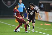 D.C. United midfielder Austin Da Luz (3) goes against Real Salt Lake defender Arturo Alvarez (10). D.C. United defeated Real Salt Lake 4-1 at RFK Stadium, Saturday September 24 , 2011.