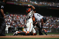 SAN FRANCISCO, CA - APRIL 27:  Buster Posey #28 of the San Francisco Giants throws to second base from his knees against the New York Yankees during the game at Oracle Park on Saturday, April 27, 2019 in San Francisco, California. (Photo by Brad Mangin)