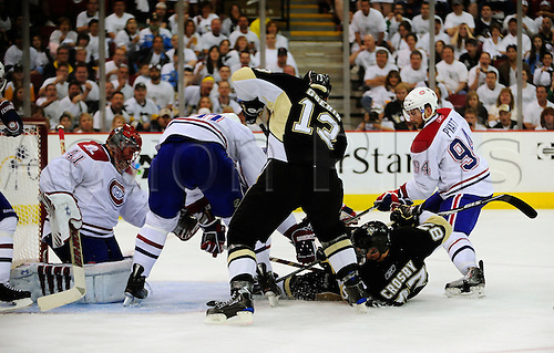 2 May 2010: Montreal Canadiens goalie Jaroslav Halak (41) keeps the puck out of the net as Pittsburgh Penguins Sidney Crosby (87) and Bill Guerin (13) crash in front during the 2nd period of Game 2 of the NHL Eastern Conference Semifinals between the Pittsburgh Penguins and the Montreal Canadiens at the Mellon Arena in Pittsburgh, Pennsylvania.