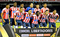 BARRANQUILLA - COLOMBIA - 08 - 02 - 2018: Los jugadores de Atletico Junior, posan para una foto, durante partido de vuelta entre Atletico Junior (Col) y Olimpia (Par), de la fase 2 por la Copa Conmebol Libertadores 2018, jugado en el estadio Metropolitano Roberto Melendez de la ciudad de Barranquilla. / The players of Atletico Junior, pose for a photo, during a match for the second leg between Atletico Junior (Col) and Olimpia (Par), of the 2nd phase for the Copa Conmebol Libertadores 2018 at the Metropolitano Roberto Melendez Stadium in Barranquilla city, Photo: VizzorImage / Alfonso Cervantes / Cont.