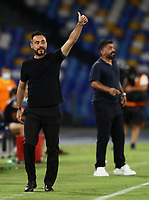 25th July 2020; Stadio San Paolo, Naples, Campania, Italy; Serie A Football, Napoli versus Sassuolo; Roberto De Zerbi, coach US Sassuolo gives his players a thumbs up sign