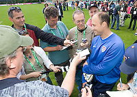 USA's Kasey Keller gives an interview after training in Hamburg, Germany, for the 2006 World Cup, June, 6, 2006.