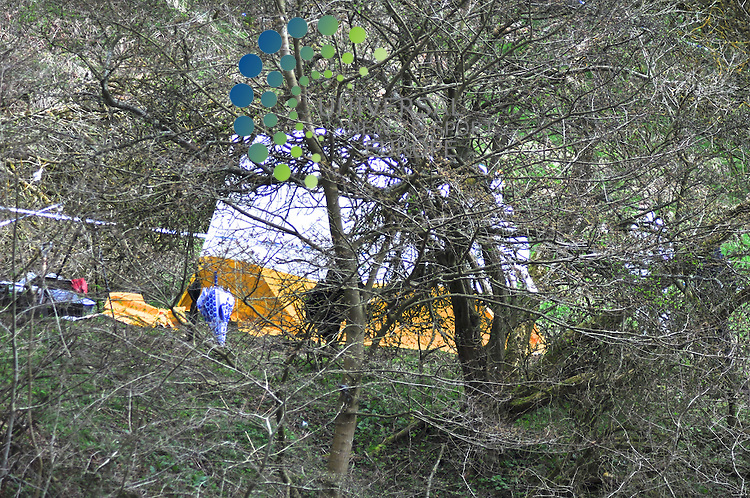Forensic detectives inspect the ground and surrounding area at which the remains believed to be of Mrs Ferns who dissapeared from her home in June 2009.  Detectives started to search the area as a result of new intelligence about Mrs Ferns Disappearance.