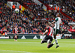 Jack O'Connell of Sheffield Utd directs a header towards goal during the Championship League match at Bramall Lane Stadium, Sheffield. Picture date 19th August 2017. Picture credit should read: Simon Bellis/Sportimage