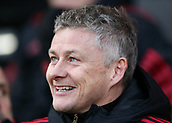 9th February 2019, Craven Cottage, London, England; EPL Premier League football, Fulham versus Manchester United; Manchester United Manager Ole Gunnar Solskjaer smiling from the dugout