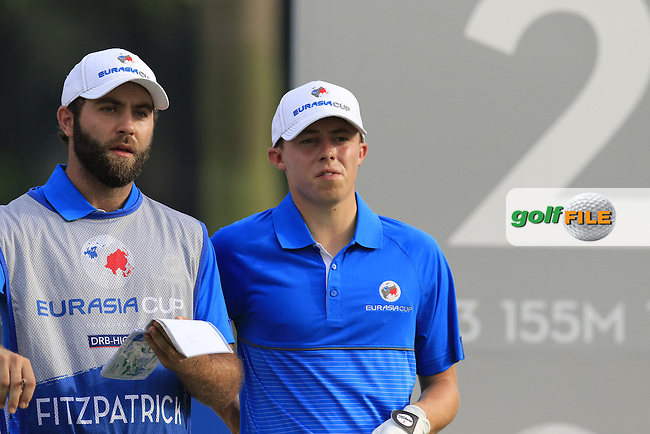 Matthew Fitzpatrick (ENG) Team Europe on the 2nd tee during Match 1 of Friday's Fourball Matches of the 2016 Eurasia Cup presented by DRB-HICOM, held at the Glenmarie Golf &amp; Country Club, Kuala Lumpur, Malaysia. 15th January 2016.<br /> Picture: Eoin Clarke | Golffile<br /> <br /> <br /> <br /> All photos usage must carry mandatory copyright credit (&copy; Golffile | Eoin Clarke)