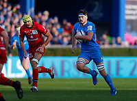 12th January 2020; RDS Arena, Dublin, Leinster, Ireland; Heineken Champions Cup Rugby, Leinster versus Lyon Olympique Universitaire; Max Deegan of Leinster makes an open field run forward - Editorial Use