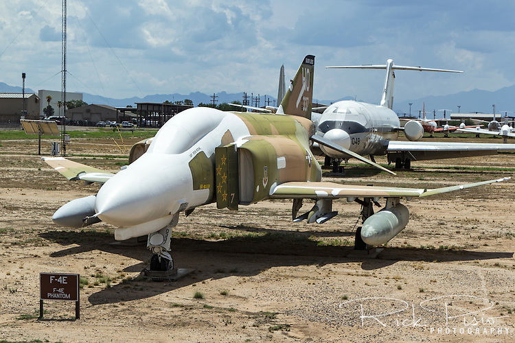 F-4E Phantom in the markings of Air Force Ace Steve Ritchie sits along the AMARG celebrity row at Davis Monthan AFB in Tucscon, Arizona. Over 5000 of the twin engine, tandem seat, mach 2 fighters were originally built starting in 1961 for the United States Navy and Air Force.
