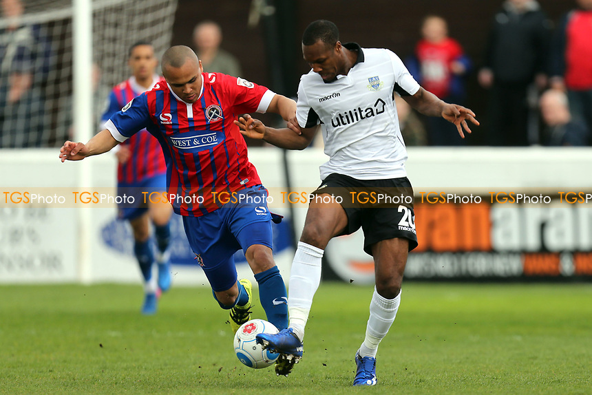 Gavin Hoyte of Eastleigh and Elliot Romain of Dagenham during Dagenham & Redbridge vs Eastleigh, Vanarama National League Football at the Chigwell Construction Stadium on 1st April 2017