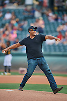 Bernie Williams of the New York Yankees visits Smith's Ballpark and throws out the first pitch on August 13, 2018 in Salt Lake City, Utah. Salt Lake defeated El Paso 4-3. (Stephen Smith/Four Seam Images)