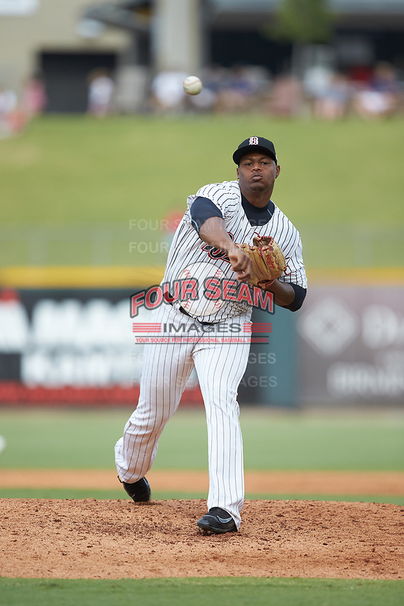 Birmingham Barons relief pitcher Mauricio Cabrera (22) in action against the Pensacola Blue Wahoos at Regions Field on July 7, 2019 in Birmingham, Alabama. The Barons defeated the Blue Wahoos 6-5 in 10 innings. (Brian Westerholt/Four Seam Images)